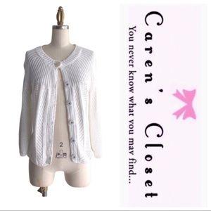 Theory White Knit Cardigan Sweater